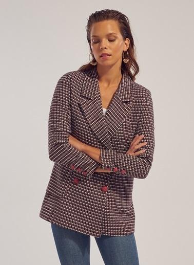 Monamoda Kazayağı Desen Astarlı Blazer Ceket Bordo